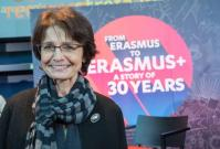 Marianne Thyssen, Member of the EC in charge of Employment, Social Affairs, Skills and Labour Mobility, and Tibor Navracsics, Member of the EC in charge of Education, Culture, Youth and Sport, attend the launch ceremony of the 30th anniversary of the Erasmus program at the European Parliament. Marianne Thyssen in front of the panel of the 30th anniversary of Erasmus. © European Union , 2017 / Source: EC - Audiovisual Service / Photo: Georges Boulougouris.